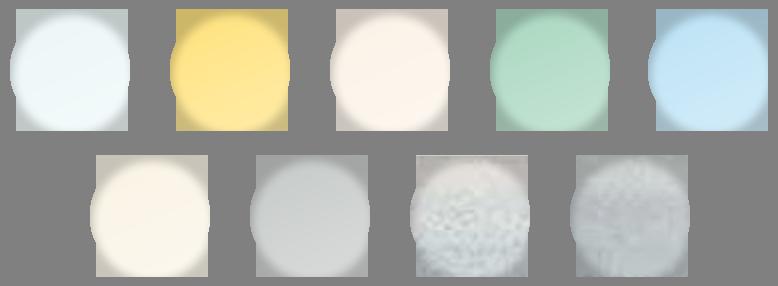 9 kleuren voor jaloezieën, 3 kleuren voor plissé